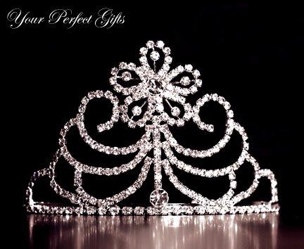 "3"" Swarovski Crystal Rhinestone Bridal Pageant Wedding Party Tiara Comb Crown Headband"