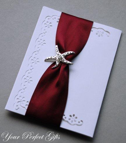 "10 STARFISH 1-3/8"" Silver Diamante Rhinestone Buckle Slider Wedding Invitation BK057"