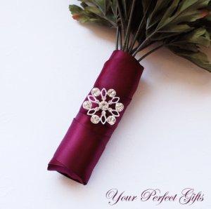 """12 Flower 1-1/2"""" Silver Diamante Rhinestone Buckle Slider Wedding Invitation Bouquet BK069"""