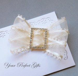 24 pc 35mm RECTANGLE Silver Diamante Rhinestone Crystal Buckle Slider Wedding Invitation BK066