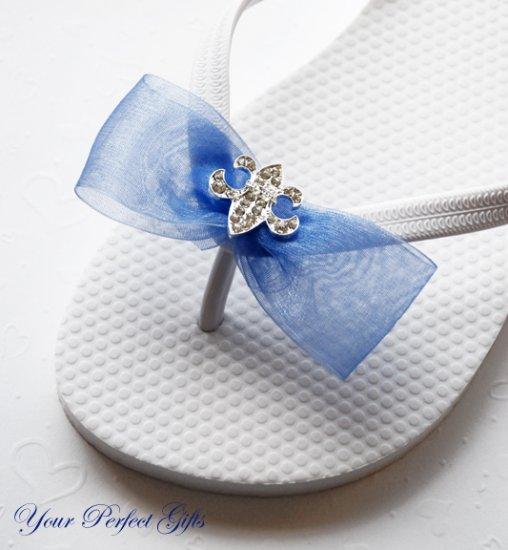 100 Fleur-de-lis Silver Diamante Rhinestone Ribbon Buckle Slider Wedding Invitation Flip FLop BK058