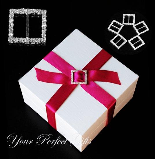 80 LARGE SQUARE 20mm Silver Diamante Rhinestone Ribbon Buckle Sliders For Wedding Invitation Card