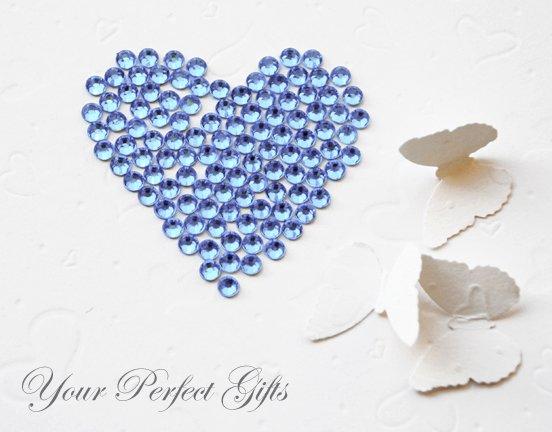 500 Acrylic Round Faceted Flat Back Light Blue Rhinestone 5mm Wedding Invitation Scrapbooking LR084
