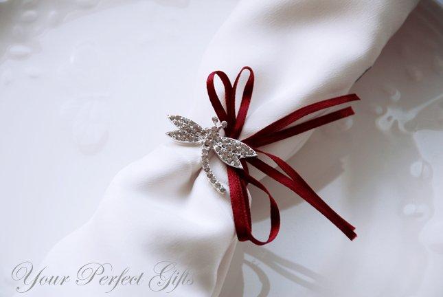 10 Dragonfly Silver Rhinestone Buckle Slider Wedding Invitation Bouquet \Jewelry Napkin Ring BK081