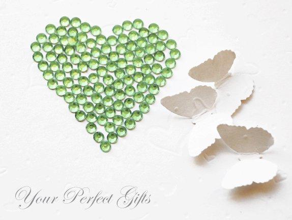 1000 Acrylic Faceted Flat Back Light Green Rhinestone 4mm Wedding Invitation scrapbooking LR023