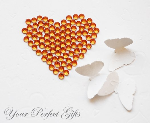1000 Acrylic Faceted Flat Back Orange Rhinestone 4mm Wedding Invitation scrapbooking LR055