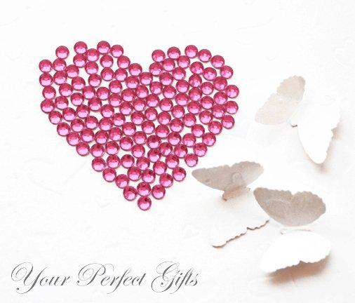 1000 Acrylic Faceted Flat Back Rose Pink Rhinestone 4mm Wedding Invitation scrapbooking LR035