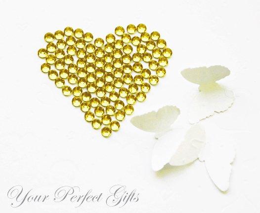 1000 Acrylic Faceted Flat Back Lemon Yellow Rhinestone 4mm Wedding Invitation scrapbooking LR082