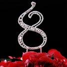"Swarovski Rhinestone Crystal Anniversary Birthday Cake Topper Number Silver 4-1/2"""