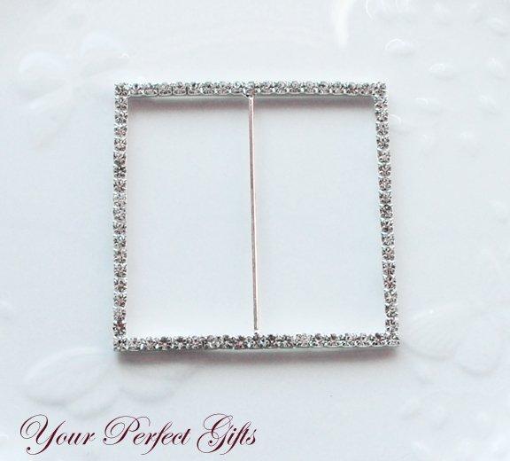 "1 pc 3"" SQUARE Silver Diamante Rhinestone Crystal Buckle Sliders Wedding Invitation BK033"