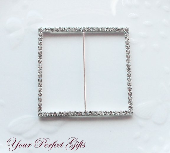 "12 SQUARE 3"" Silver Diamante Rhinestone Ribbon Buckle Sliders Wedding Invitation BK033"