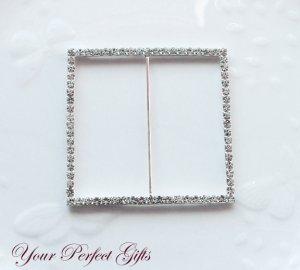 "12 SQUARE 3"" Silver Diamante Rhinestone Ribbon Buckle Sliders Wedding Invitation BK033"