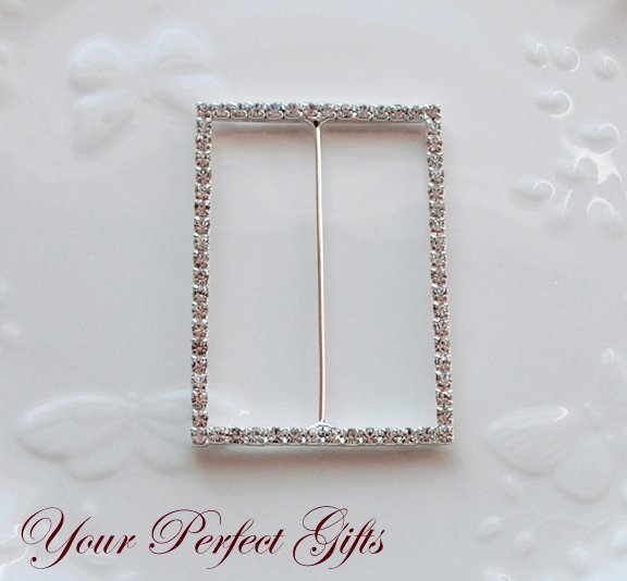 "12 RECTANGLE 3"" Silver Diamante Rhinestone Buckle Slider Wedding Invitation BK086"
