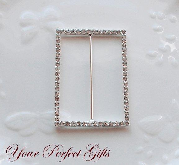 "50 RECTANGLE 3"" Silver Diamante Rhinestone Ribbon Buckle Sliders Wedding Invitation BK086"