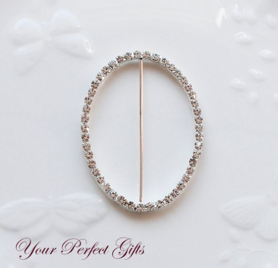 """1 pc 3"""" OVAL Silver Rhinestone Crystal Buckle Slider Wedding Invitation BK076"""