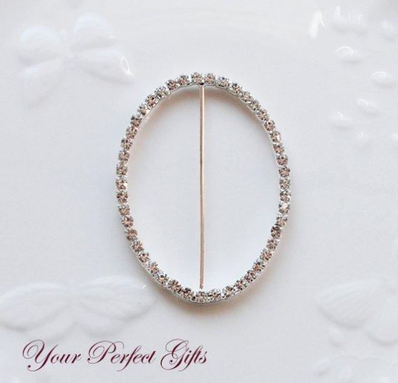 "24 OVAL 3"" Silver Diamante Rhinestone Ribbon Buckle Slider Wedding Invitation BK076"