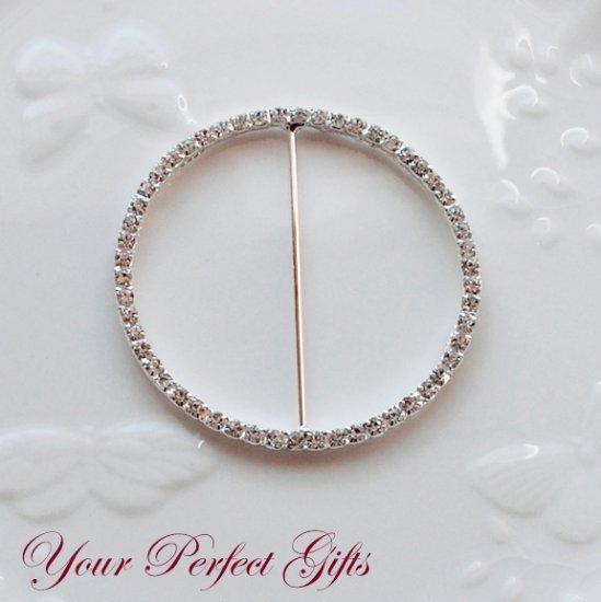 "1 pc 3"" ROUND CIRCLE Silver Diamante Rhinestone Crystal Buckle Slider Wedding Invitation BK037"