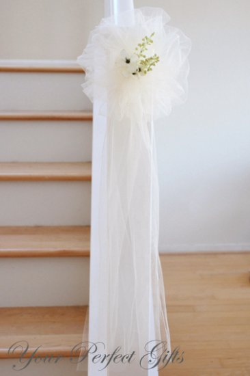"""10 IVORY 9"""" TULLE NET WEDDING PEW BOWS FOR BRIDAL CAKE GIFT BASKET DECORCATION"""