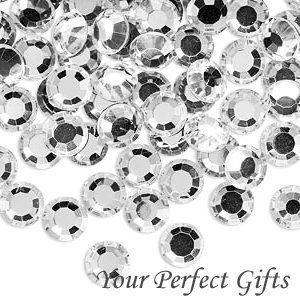 100 Acrylic Round Faceted Flat Back Rhinestone 7mm Clear Wedding Invitation scrapbooking LR004