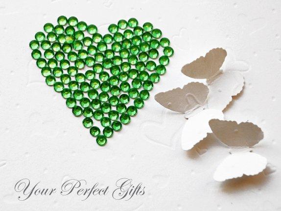 100 Acrylic Round Faceted Flat Back Rhinestone 7mm Green Wedding Invitation scrapbooking LR044