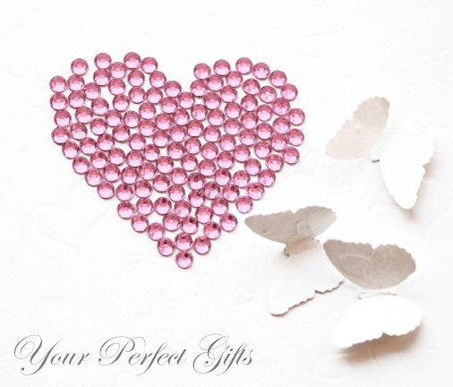 100 Acrylic Faceted Flatback Rhinestone 7mm Light Rose Pink Wedding Invitation scrapbooking LR052