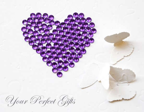 100 Acrylic Faceted Flat Back Rhinestone 7mm Amethyst Purple Wedding Invitation scrapbooking LR048
