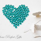 100 Acrylic Round Faceted Flatback Rhinestone 7mm Teal Blue Wedding Invitation scrapbooking LR040