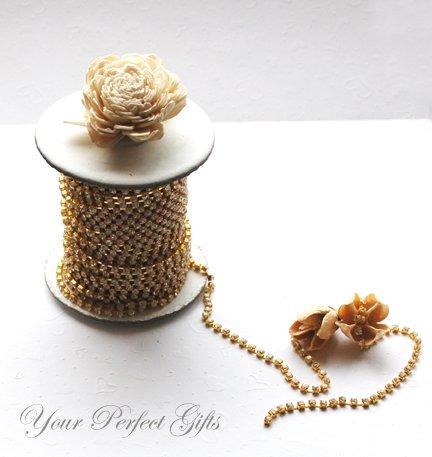 3 Feet/1 Yard SS16 4mm Rhinestone Chain Crystal Gold Pleated Wedding Cake Banding Ribbon RC020