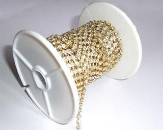 1 Foot SS28 6mm Rhinestone Chain Crystal Gold Plated Wedding Cake Banding Jewelry RC022
