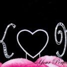 Swarovski Rhinestone Crystal Monogram Wedding Cake Topper Heart Initial Letter Silver 3pcs CT069