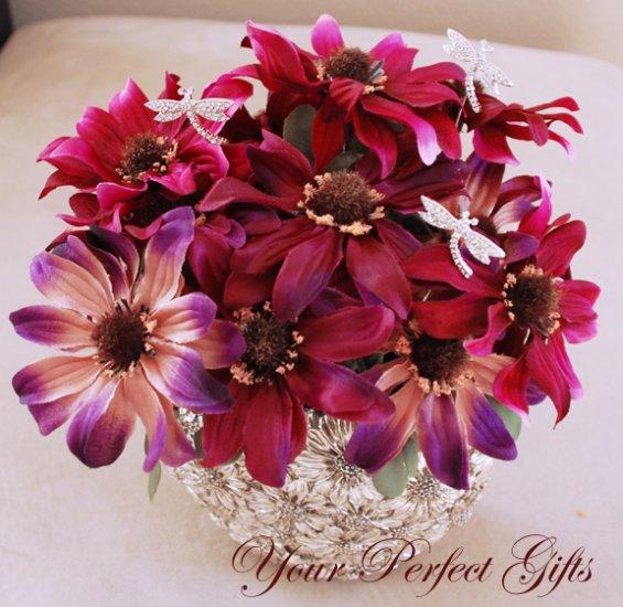 6 pcs Swarovski Crystal Rhinestone Dragonfly  Bouquet Flower Center�piece Jewelry
