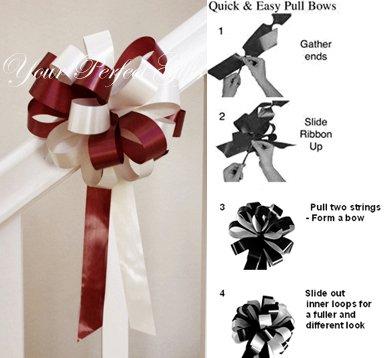 "10 BURGUNDY RED IVORY 8"" WEDDING PULL PEW BOW FOR BRIDAL CAKE GIFT BASKET DECORCATION PB025"