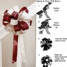 "10 BURGUNDY RED IVORY 8"" WEDDING PULL PEW BOW FOR BRIDAL CAKE GIFT BASKET DECORCATION PB025"