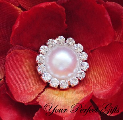 1 pc Round Diamante Rhinestone Crystal Pearl Button Hair Flower Clip Wedding Invitation BT091