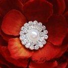 20 Two Row Round Diamante Rhinestone Crystal Pearl Button Hair Clip Wedding Invitation Ring BT029