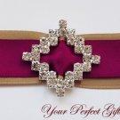 100 DIAMOND SQUARE Diamante Rhinestone Crystal Silver Buckle Sliders For Wedding Invitation BK047