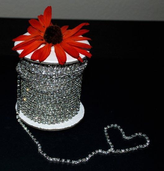 9 feet/3 Yards SS8 2.5mm Rhinestone Chain Crystal Silver Pleated Wedding Cake Banding Jewelry RC002