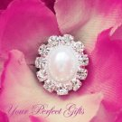 10 Oval Diamante Rhinestone Crystal Pearl Button Hair Flower Clip Wedding Invitation Ring BT024