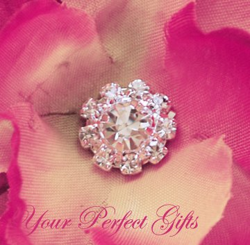 100 Round Circle Diamante Rhinestone Crystal Button Hair Clip Wedding Invitation Ring Pillow BT053