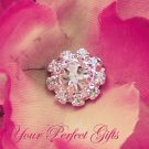 1 pc Round Circle Diamante Rhinestone Crystal Silver Button Hair Clip Wedding Invitation BT053
