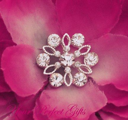 """10 Flower 7/8"""" Silver Diamante Rhinestone Buckle Slider Flip Flop Wedding Invitation Bouquet BK072"""