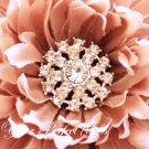100 Round Circle Two Row Diamante Rhinestone Crystal Button Hair Clip Wedding Invitation Ring BT037