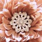 100 Round Circle Diamante Rhinestone Crystal Button Hair Clip Wedding Invitation Ring Pillow BT028