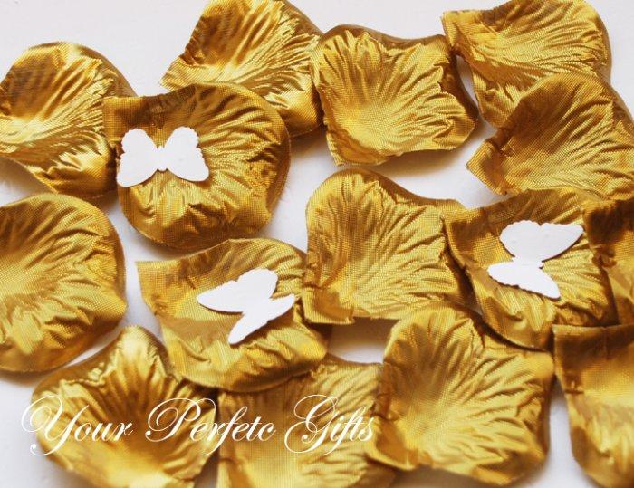 1000 GOLD SILK ROSE PETALS WEDDING DECORATION FLOWER FAVOR RP028