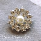1 pc Round Two Row Diamante Rhinestone Crystal Pearl Button Hair Clip Wedding Invitation BT036