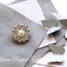 50 Round Two Row Diamante Rhinestone Crystal Pearl Button Hair Clip Wedding Invitation Ring BT036