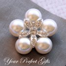 50 Round 40mm Diamante Rhinestone Crystal Pearl Button Hair Clip Wedding Invitation Ring BT040