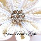 100 Round Circle Flower Diamante Rhinestone Crystal Button Hair Clip Wedding Invitation Ring BT104