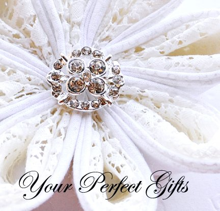 10 Oval Diamante Rhinestone Crystal Button Hair Flower Clip Wedding Invitation Ring Pillow BT064
