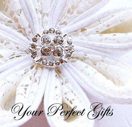 100 Oval Diamante Rhinestone Crystal Button Hair Flower Clip Wedding Invitation Ring Pillow BT064
